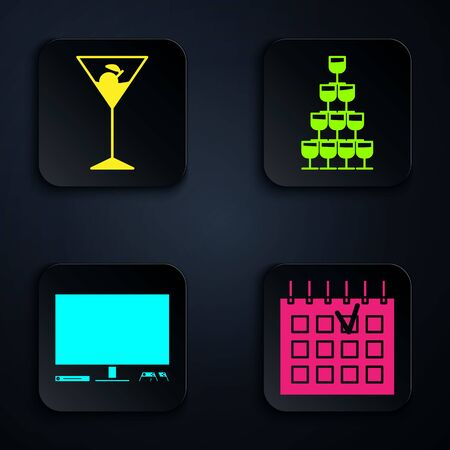 Set Detailed calendar , Martini glass , Video game console and Wine glasses stacked in a pyramid tower . Black square button. Vector