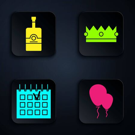 Set Balloons with ribbon , Whiskey bottle , Detailed calendar and Crown . Black square button. Vector