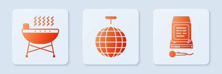 Set Disco ball , Barbecue grill and Karaoke . White square button. Vector