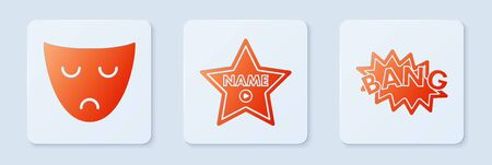 Set Hollywood walk of fame star on celebrity boulevard , Drama theatrical mask and Bang boom text speech bubble balloon . White square button. Vector