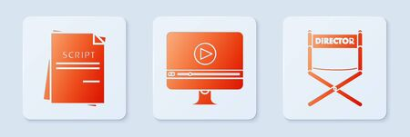 Set Online play video , Scenario and Director movie chair . White square button. Vector