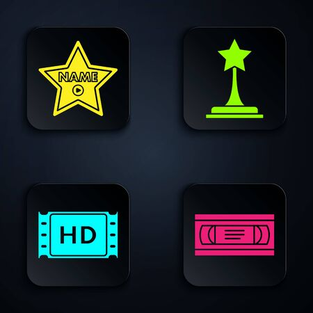 Set VHS video cassette tape ,  star  , 4k movie, tape, frame and Movie trophy . Black square button. Vector