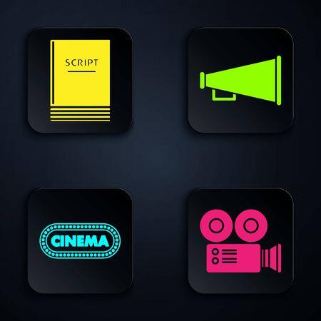 Set Cinema camera , Scenario , Cinema poster design template and Megaphone . Black square button. Vector Иллюстрация