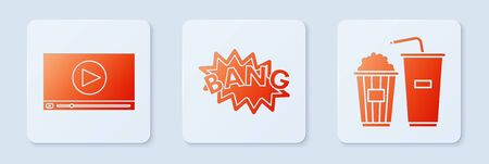 Set Bang boom text speech bubble balloon , Online play video and Popcorn and soda drink glass. White square button. Vector
