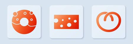 Set Cheese , Donut with sweet glaze and Pretzel . White square button. Vector Vettoriali