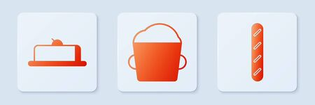 Set Bakery bowl dough , Strawberry cheesecake slice and French baguette bread . White square button. Vector