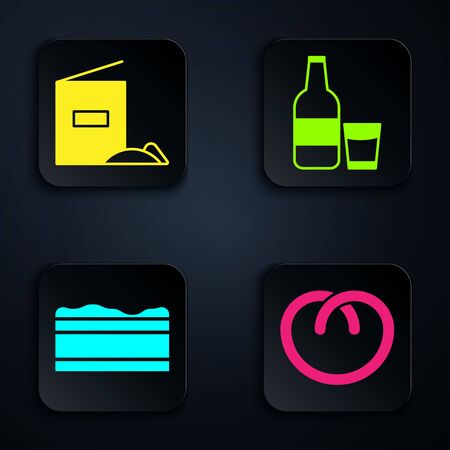 Set Pretzel , Flour pack , Brownie chocolate cake and Glass bottle with milk and glass . Black square button. Vector