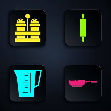 Set Frying pan , Salt and pepper , Measuring cup and Rolling pin . Black square button. Vector