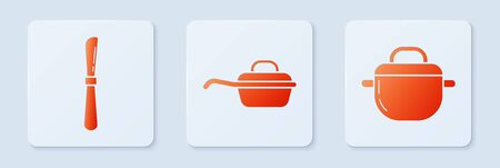 Set Frying pan , Knife and Cooking pot . White square button. Vector