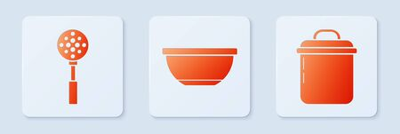 Set Bowl , Spatula and Cooking pot . White square button. Vector