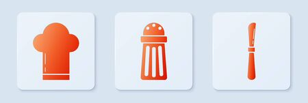 Set Salt , Chef hat and Knife . White square button. Vector