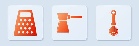 Set Coffee turk , Grater and Pizza knife . White square button. Vector Illustration