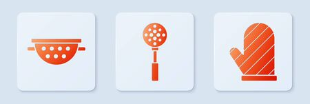 Set Spatula , Kitchen colander and Oven glove . White square button. Vector Vettoriali