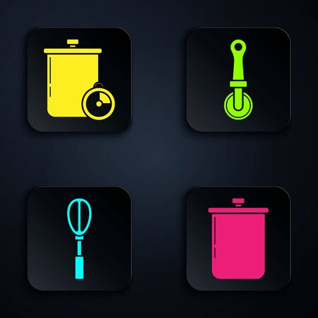 Set Cooking pot , Cooking pot and kitchen timer , Kitchen whisk and Pizza knife . Black square button. Vector  イラスト・ベクター素材