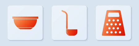 Set Kitchen ladle , Bowl and Grater . White square button. Vector  イラスト・ベクター素材