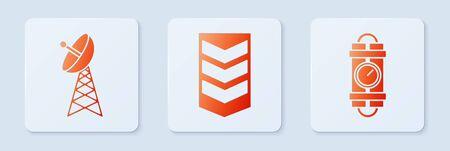 Set Military rank , Radar and Detonate dynamite bomb stick and timer clock. White square button. Vector Vettoriali