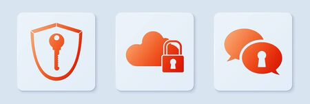 Set Cloud computing lock , Shield with key and Protection of personal data . White square button. Vector