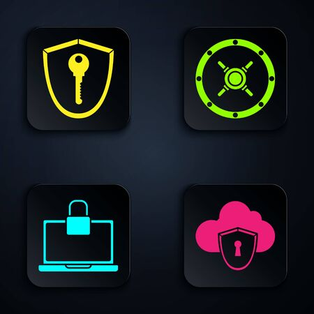 Set Cloud and shield, Shield with key , Laptop and lock and Safe . Black square button. Vector