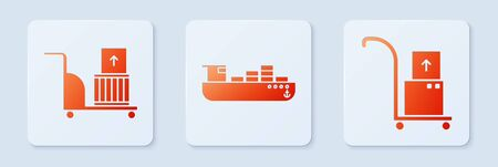 Set Cargo ship with boxes delivery service , Electric hand truck and boxes and Hand truck and boxes . White square button. Vector