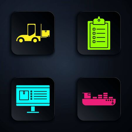 Set Cargo ship with boxes delivery service , Forklift truck , Computer monitor with app delivery tracking and Verification of delivery list clipboard . Black square button. Vector