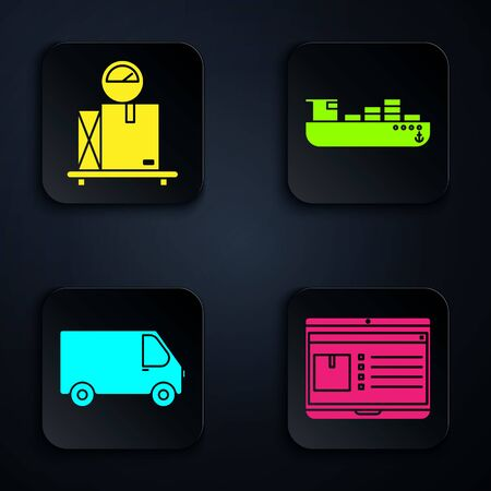 Set Laptop with app delivery tracking , Scale with cardboard box , Delivery cargo truck vehicle and Cargo ship with boxes delivery service . Black square button. Vector Illustration