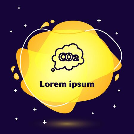 Black line CO2 emissions in cloud icon isolated on blue background. Carbon dioxide formula symbol, smog pollution concept, environment concept. Abstract banner with liquid shapes. Vector Illustration