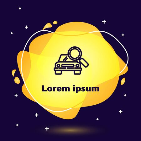 Black line Car search icon isolated on blue background. Magnifying glass with car. Abstract banner with liquid shapes. Vector Illustration