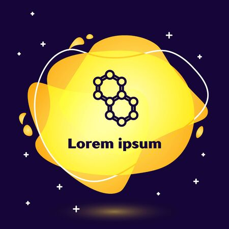 Black line Molecule icon isolated on blue background. Structure of molecules in chemistry, science teachers innovative educational poster. Abstract banner with liquid shapes. Vector Illustration 向量圖像
