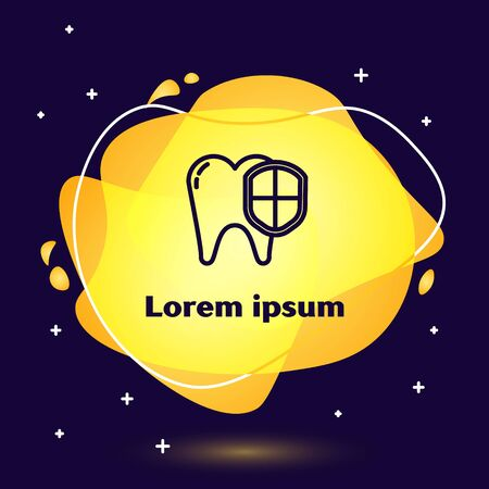 Black line Dental protection icon isolated on blue background. Tooth on shield logo. Abstract banner with liquid shapes. Vector Illustration 向量圖像