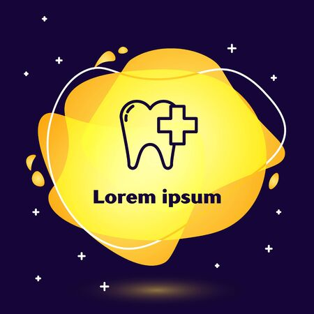 Black line Dental clinic for dental care tooth icon isolated on blue background. Abstract banner with liquid shapes. Vector Illustration 向量圖像