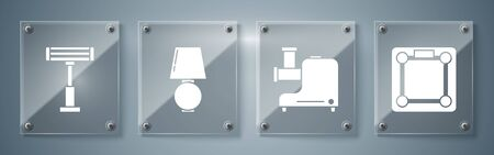 Set Bathroom scales , Kitchen meat grinder , Table lamp and Electric heater . Square glass panels. Vector