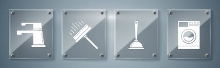 Set Washer , Toilet plunger, Squeegee, scraper, wiper and Water tap . Square glass panels. Vector 일러스트
