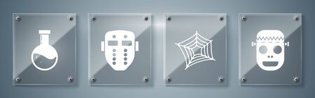 Set Zombie mask , Spider web , Hockey mask and Bottle with potion . Square glass panels. Vector Illustration