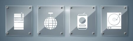 Set Vinyl player with a vinyl disk , Beer can , Disco ball and Open cigarettes pack box . Square glass panels. Vector