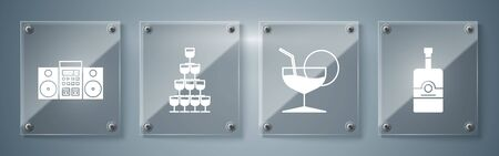 Set Whiskey bottle , Martini glass , Wine glasses stacked in a pyramid tower and Home stereo with two speakers . Square glass panels. Vector