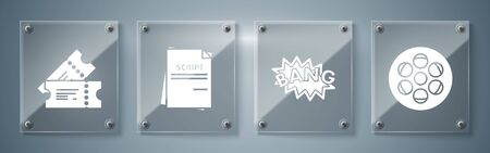 Set Film reel , Bang boom text speech bubble balloon , Scenario and Cinema ticket . Square glass panels. Vector