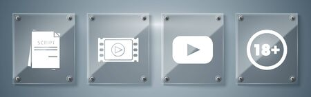 Set Under 18 years, Play , Play Video and Scenario . Square glass panels. Vector Иллюстрация