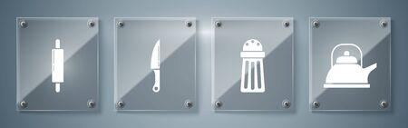 Set Kettle with handle , Salt , Knife and Rolling pin . Square glass panels. Vector Ilustração