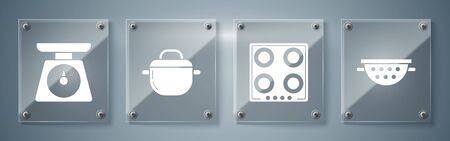 Set Kitchen colander , Gas stove , Cooking pot and Scales . Square glass panels. Vector
