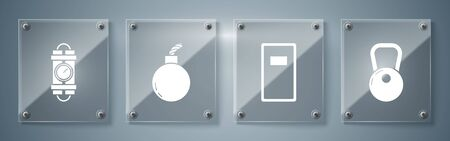 Set Kettlebell , Police assault shield , Bomb ready to explode and Detonate dynamite bomb stick and timer clock. Square glass panels. Vector