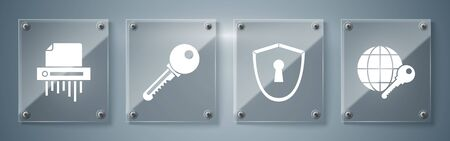 Set Globe key , Shield with keyhole , Key and Paper shredder confidential. Square glass panels. Vector Vetores