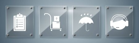 Set Support operator in touch, Umbrella and rain drops , Hand truck and boxes and Verification of delivery list clipboard . Square glass panels. Vector Ilustração
