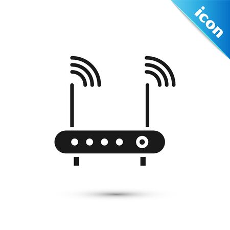 Grey Router and wifi signal symbol icon isolated on white background. Illustration