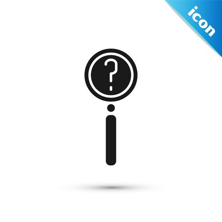 Grey Magnifying glass with search icon isolated on white background. Detective is investigating.  Vector Illustration Illustration