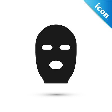 Grey Thief mask icon isolated on white background. Bandit mask, criminal man.  Vector Illustration