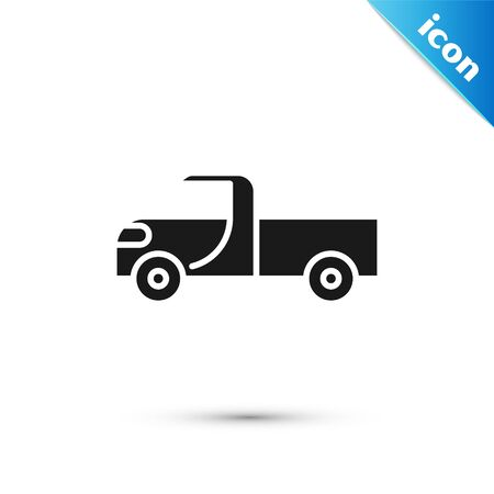 Grey Pickup truck icon isolated on white background. Vector Illustration