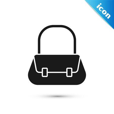 Grey Handbag icon isolated on white background. Female handbag sign. Glamour casual baggage symbol. Vector Illustration