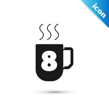 Grey Coffee cup with 8 March icon isolated on white background. Tea cup. Hot drink coffee. International Happy Women Day.  Vector Illustration