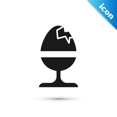 Grey Chicken egg on a stand icon isolated on white background. Happy Easter.  Vector Illustration