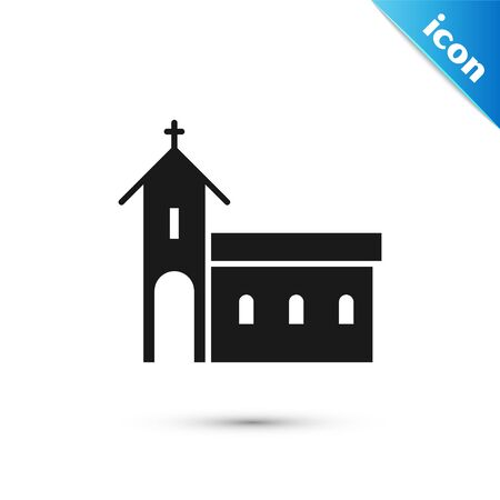 Grey Church building icon isolated on white background. Christian Church. Religion of church. Vector Illustration Çizim